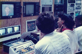 students at controls - 1987