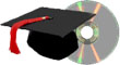 graduation cap and DVD
